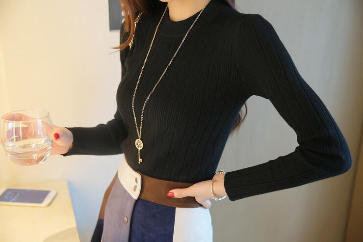 2019 Autumn New Korean Solid Color Joker Crew Neck Slim Fit PulloverThread Knit Basic Women Sweater 18
