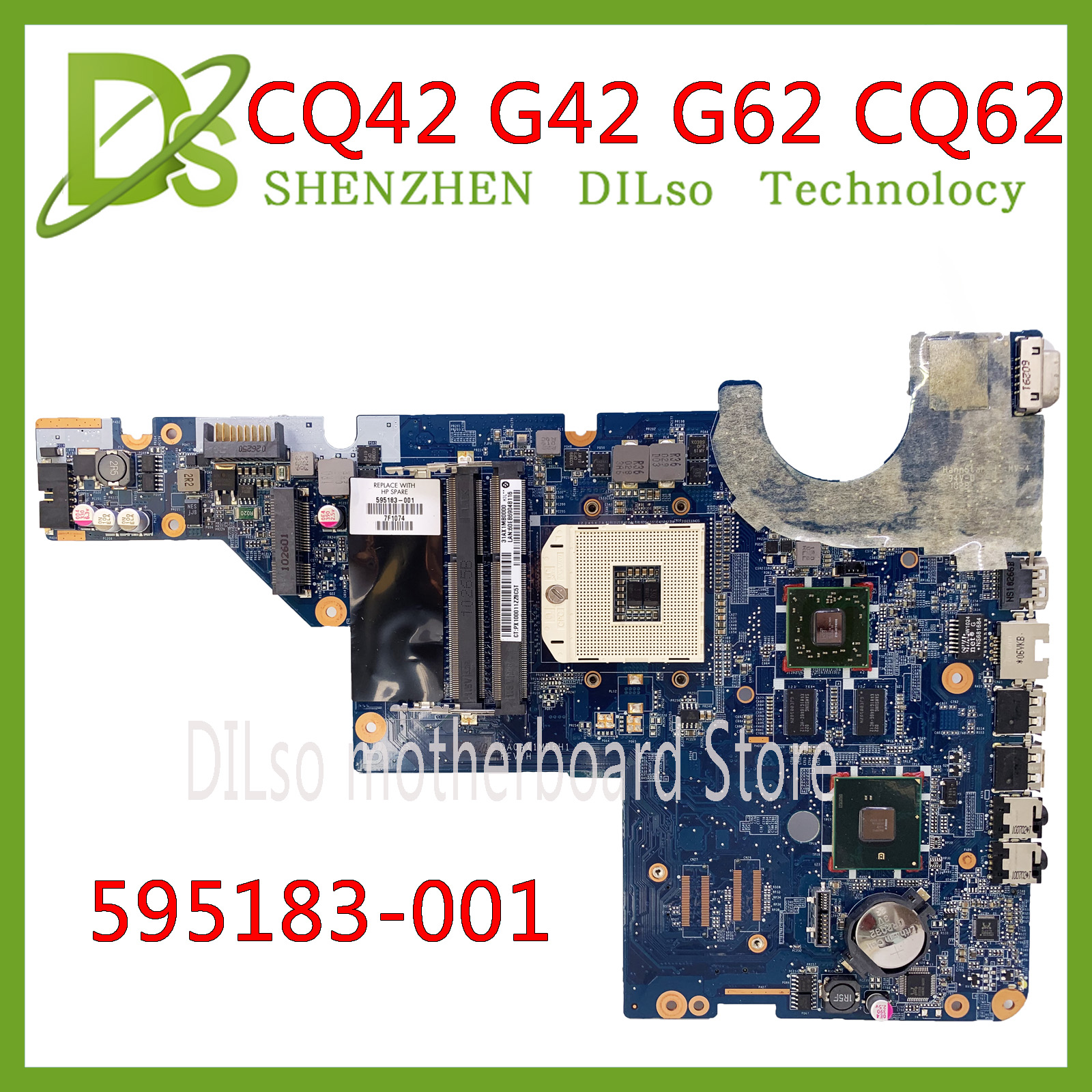 KEFU 595183-001 For HP Motherboard HP Motherboard CQ42 G42 G62 CQ62 Laptop Motherboard DAOAX1MB6F0 DA0AX1MB6H0 100% Original