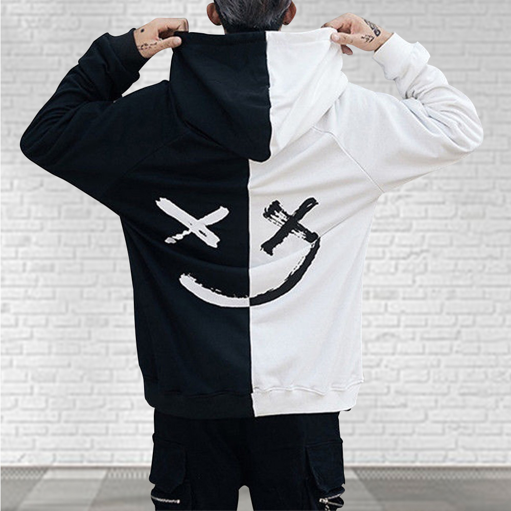 Men Hoodies Sweatshirts Happy Smiling Face Print Headwear Hoodie Mens Patchwork Hoodies Hip Hop Streetwear Hooded Pullover