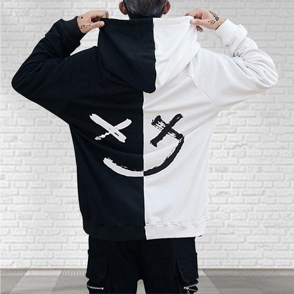 Men Hoodies Sweatshirts Happy Smiling Face Print Headwear Hoodie Mens Patchwork Hoodies Hip Hop Streetwear Hooded Pullover