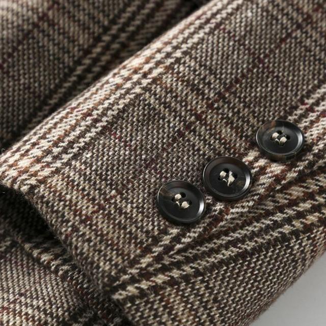 PEONFLY Vintage Single Breasted Office Ladies Plaid Blazer Long Sleeve Loose Plaid Coat Jacket Women Blazers Female 2021 4