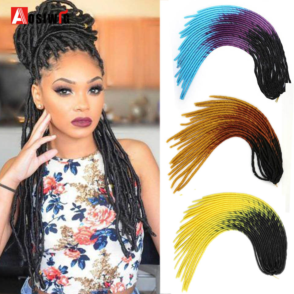 AOSIWIG Synthetic Soft Faux Locs Curly Crochet Braids Hair For Braiding Hair Extensions Ombre Brown Pink Color Dreadlocks