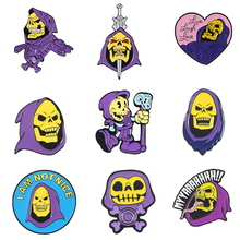 Punk Skeletor purple hood Enamel Pin Masters of the Universe Badge Brooch Bag Clothes Lapel pin Classic Cartoon Jewelry цена