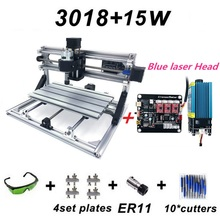 15W New CNC3018 Engraving Machine ER11 with 500mw 2500mw 5500mw 15000mw Blue Laser Head Wood Router PCB Milling