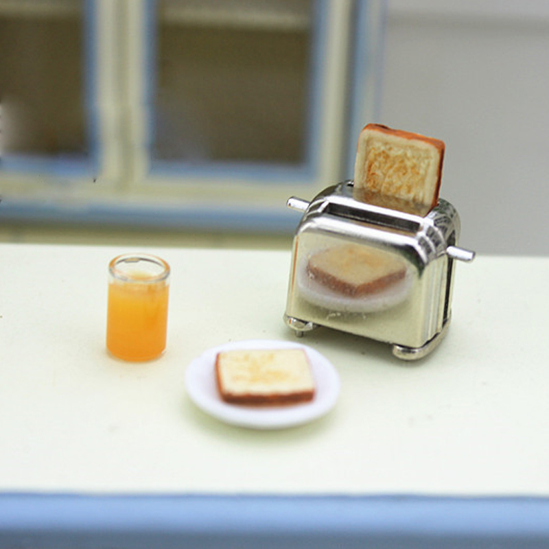 DIY  Dollhouse Miniature Mini Bread Toaster 1:12 Doll Houses Accessories Kitchen Food For Dolls Kitchen Pretend Play Toys