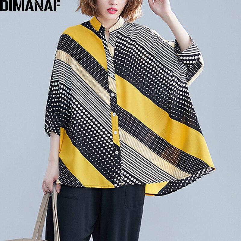 DIMANAF Plus Size Women Blouse 2019 Autumn Print Polka Dot Patchwork Female Lady Basic Tops Shirts Loose Big Size Casual Clothes
