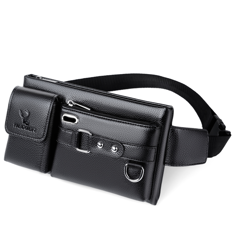 Fashion Waist Packs Men Top PU Leather Fanny Bag for Phone Pouch Leather Messenger Bags Fanny Pack Male Travel Waist Bag Men 1