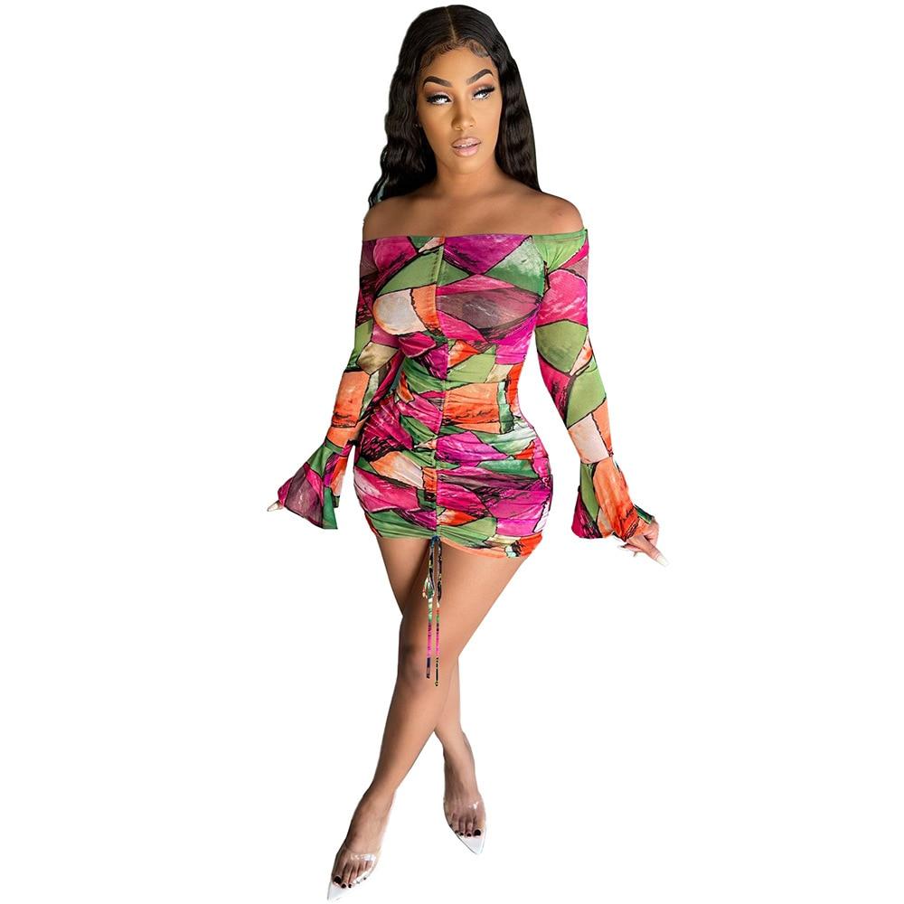 Snake Tie Dye Printed Ruch Drawstring Wrap Dress Woman Off Shoulder Long Flare Sleeve Sheath Dresses Retro Backless Robe Femme 12