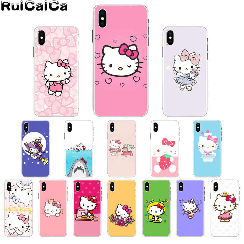 RuiCaiCa прекрасный розовый чехол hello kitty Coque Shell для телефона iPhone 5 5Sx 6 7 7plus 8 8Plus X XS MAX XR