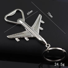 Plane Bottle Opener Key Rings Jewelry Key Chain for Aviation Promotional Gifts Creative Combat Aircraft Metal Key Ring MT-0009(China)