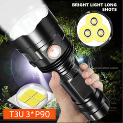 3*XHP90 Super bright led flashlight 3*xhp50 usb rechargeable 6 model Waterproof high-power torch Use 26650 batteries