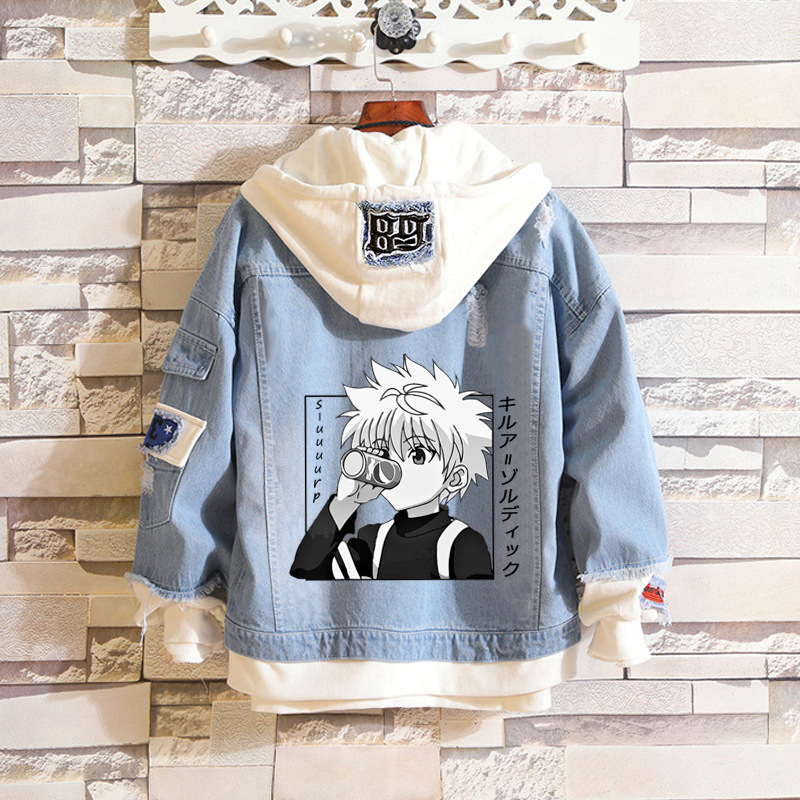 Anime Jeans Denim Jacket HUNTER x HUNTER Costume GON·FREECSS figure Cosplay Denim shirt Adult Autumn Spring Hooded Outwear Coat
