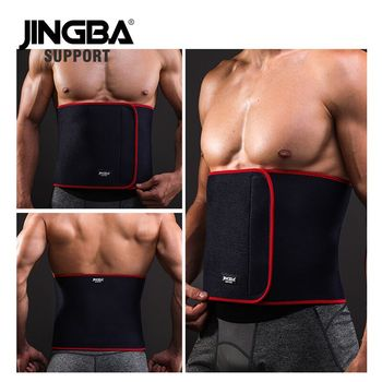 цена JINGBA SUPPORT Sport waist support belt weightlifting Back Support bar Protective gear Neoprene waist trimmer fitness sweat belt онлайн в 2017 году