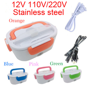 12V 110V/220V Portable Electric Heating Stainless Steel Lunch Box Home Car Dual Use Rice Box Food Warmer Dinnerware Set