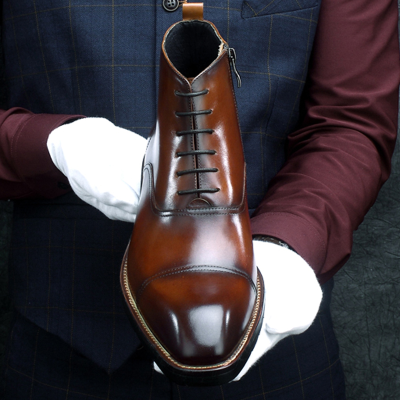New Arrival Genuine Leather Men's Handmade Ankle Boots Square Toe Laces Cap Toe Oxfords Formal Dress Handmade Man Shoes HKN194 - 2