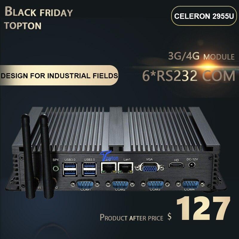 Powerful Mini Desktop Computer Fanless Industrial PC Intel I7 I5 I3 2955U Dual Core CPU  4xUSB 3.0, 6xCOM,2*LAN, HDMI, 300M WIFI