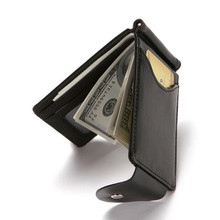 High Quality PU Creative Mens Wallet Credit Card Holder Flip Buckle Korean Version Of The Fashion