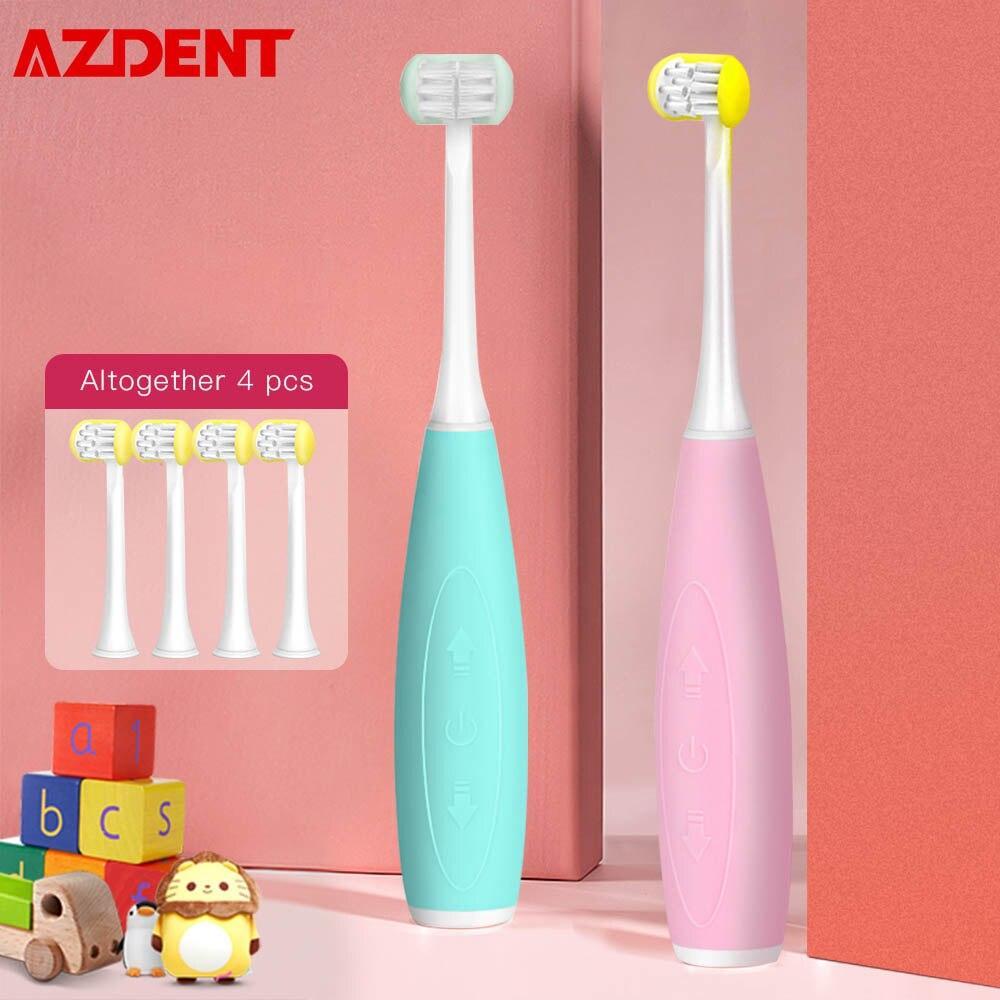 AZDENT 3 tarafı çocuk çocuklar Sonic elektrikli diş fırçası 5 modları U tipi diş diş fırçası 4 kafaları 3h USB şarj edilebilir 25 gün kullanımı