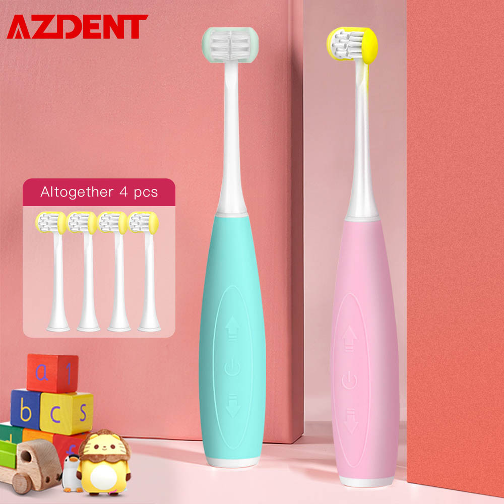 AZDENT 3 Sides Children Kids Sonic Electric Toothbrush <font><b>5</b></font> Modes U Type Teeth Tooth Brush 4 Heads 3h <font><b>USB</b></font> Rechargeable <font><b>25</b></font> Days Use image