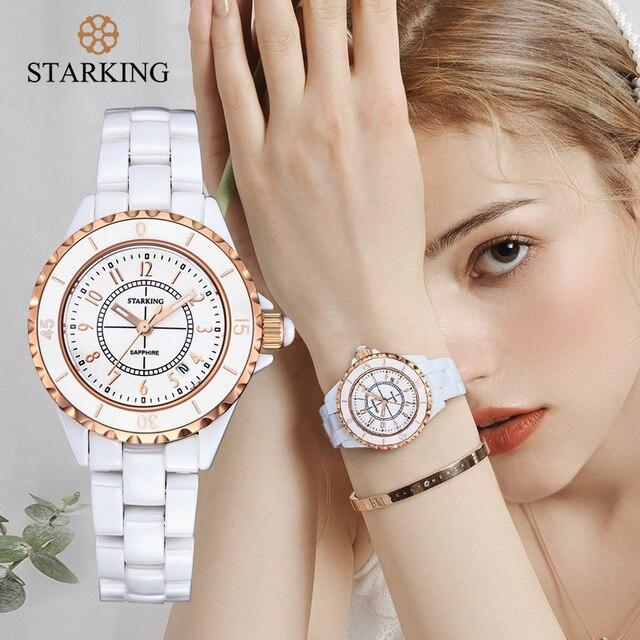 Women Watches Luxury 2021 Waterproof White Ceramic Diamond Ladies Watch Sapphire Quartz Wristwatch Relogios Femininos STARKING 1
