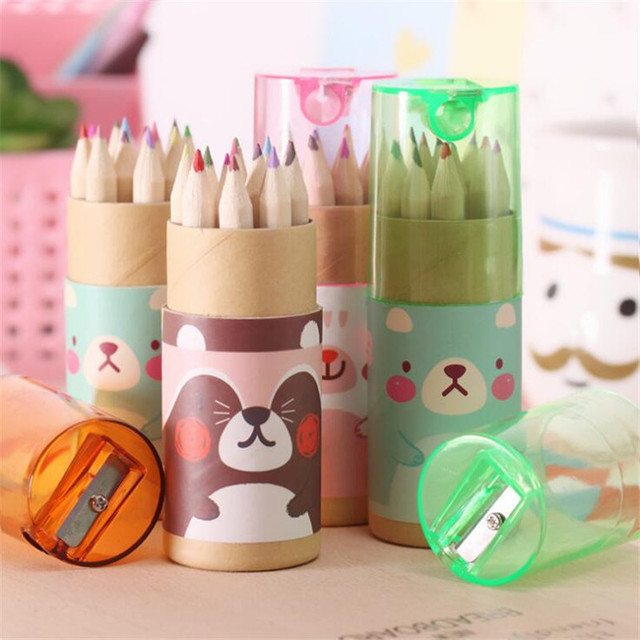 12Pcs/Box Mini Crayons Pencils Stationery Cute Bear Pencils For School Girl Boy Colored Pencils YOUE SHONE 4