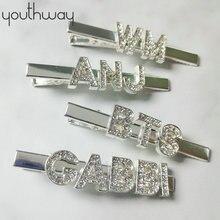 Пользовательские слова заколки для волос персонализированные Стразы аллигатора вымощенные буквы шпильки для волос кристалл невесты свадебные ювелирные Заколки Для Волос