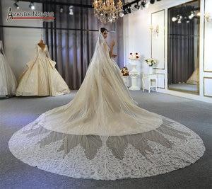Image 4 - Abito da sposa gelinlik lüks dubai düğün elbisesi 2020 uzun dantel peçe amanda novias