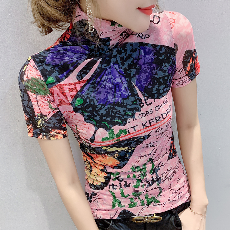 European Clothes Fashion Sexy Turtleneck Print Butterfly T-shirt Women 2020 Summer Tops Ropa Mujer Bottoming Shirt Tees T01011