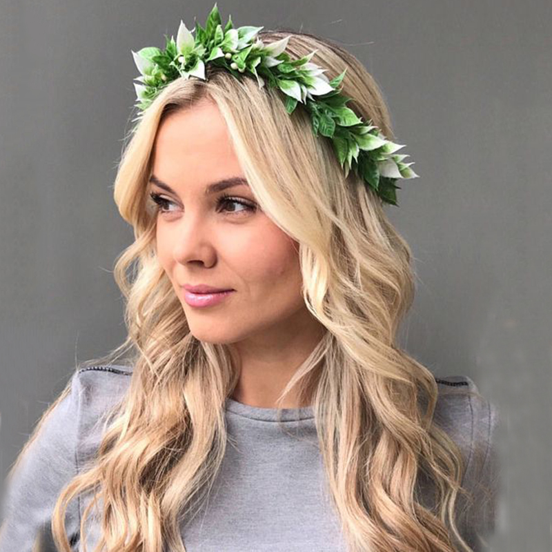 LEVAO Green Leaves Flower Crown Headband For Women Bride Bride Forest Photography Props Floral Garland Wreath Hairband Headwear