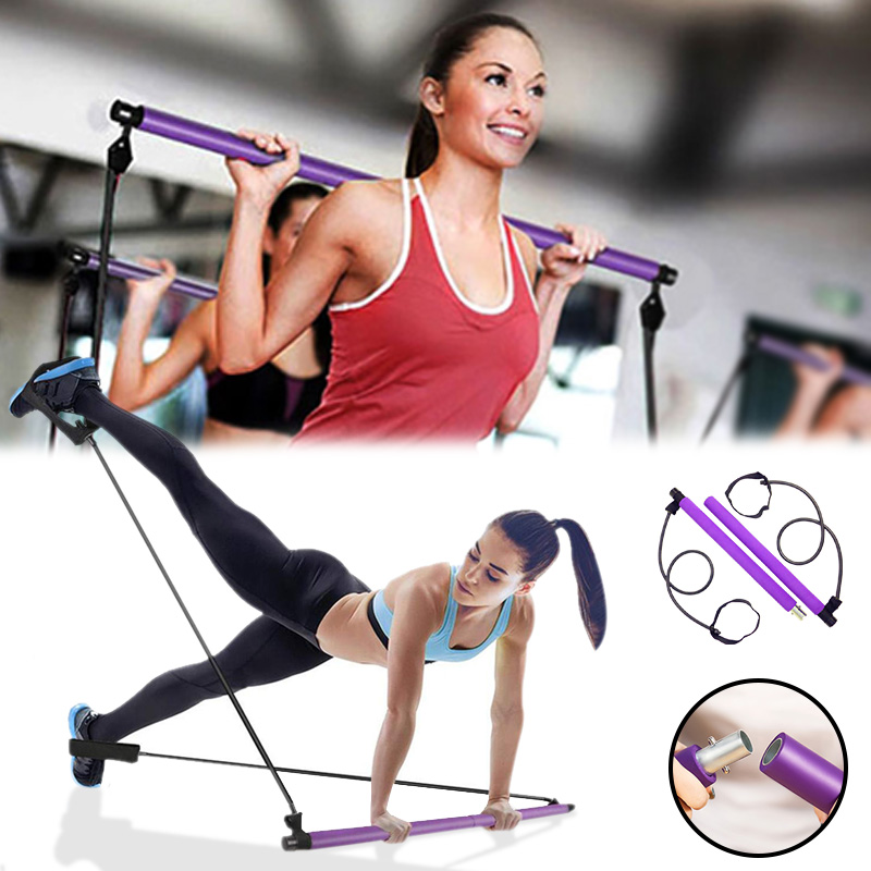 Resistance Bands With Pilates Stick Bar Portable Fitness Pilates Stick Crossfit Bodybuilding Yoga Elastic Band Exercise Workout