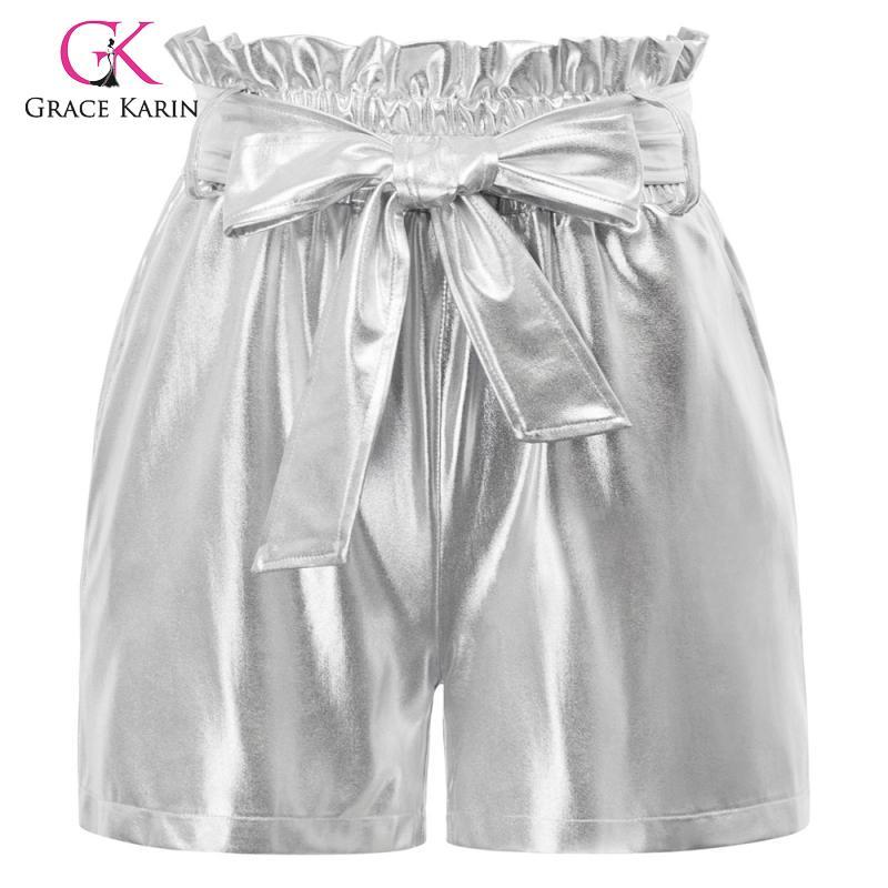 Grace Karin Hot Summer Casual Shorts Beach Elastic High Waist Short Fashion Lady Women Belt Decorated Imitated Leather Shorts