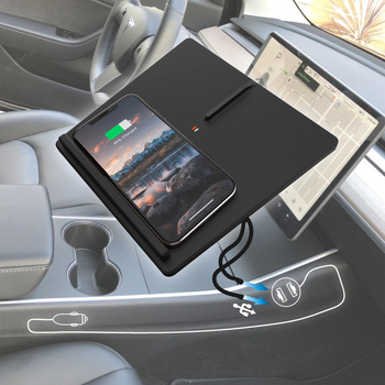 GEN 2 Upgraded Tesla Model 3 Y Mobile Phone Wireless Charger Accessories Kit Center Console Horizontally Charging Pad for iPhone