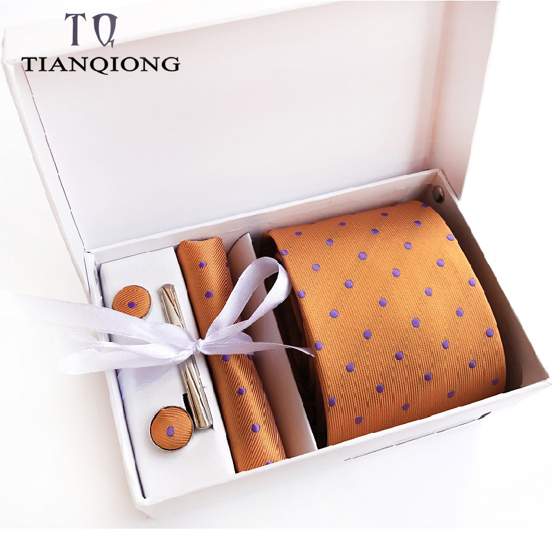 Gift Box Custom Personalized Mens Ties Hankie Cufflinks Sets Neckwear 8cm Dot Cravats Striped Necktie For Men Wedding Party