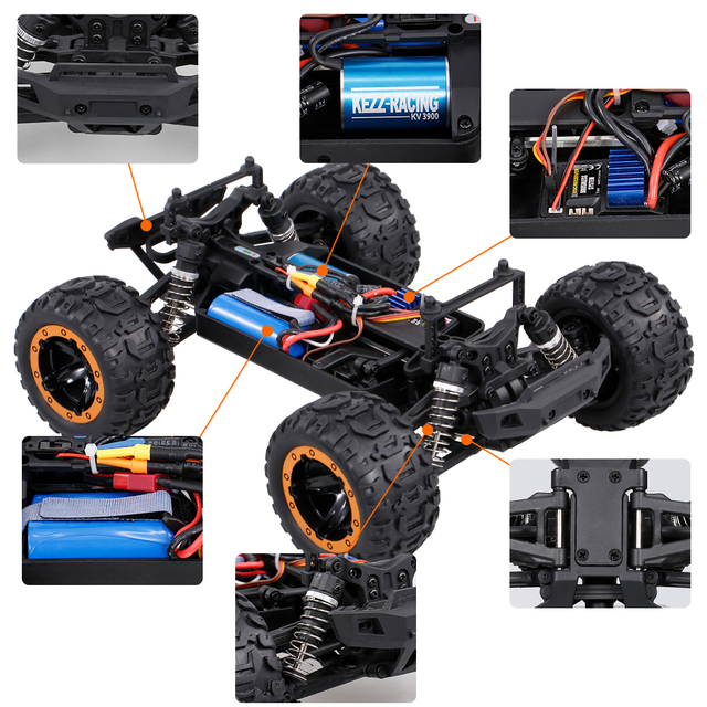 Linxtech 16889 1/16 4WD 45km/h Racing RC Car Brushless Motor Big Foot Off-Road RC Toy All Terrain for Kids VS Wltoys 12428