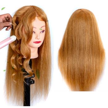Praktyka głowa fryzjer włosy lalka głowa manekina na fryzury z 100 włosy naturalne miód blond naturalne włosy 60 cm dla kobiet tanie i dobre opinie Tinashe Beauty CN (pochodzenie) 100 realhair 100 real hair For hair dyeing colors cutting About 22 inches (60 cm)