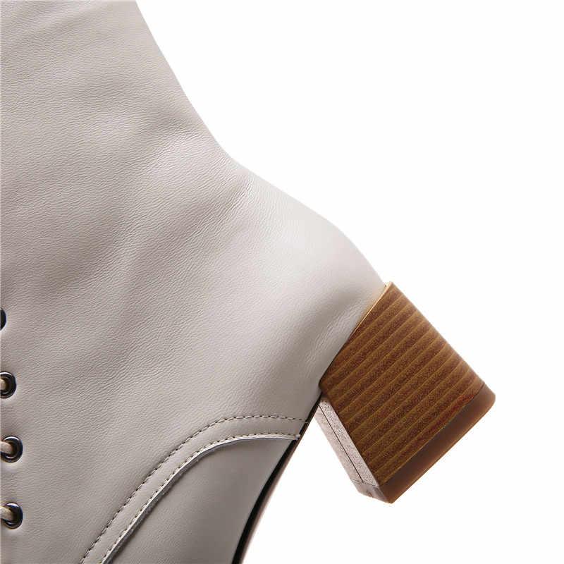 MORAZORA 2020 Hot koop fashion enkellaarsjes echt leer effen kleur vrouwen laarzen med hakken vierkante teen lace up dames schoenen