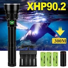 Lampe de plongée sous-marine Led IPX8 XHP90.2, torche de plongée sous-marine Xhp70 Xhp50, lumière blanche et jaune, peut plonger 300M
