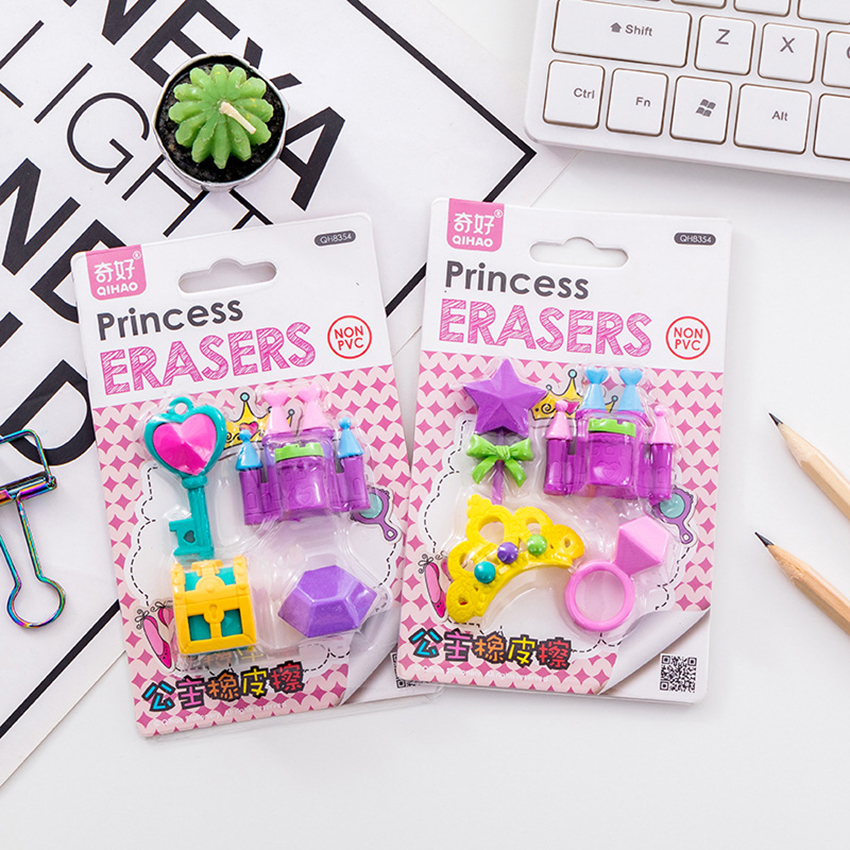 4PCS/Set Creative Princess Castle Collection Eraser Toys Castle Crown Key Diamond Pencil Erasers Rewards And Novelty Toys