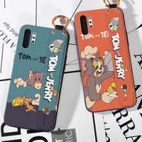 Cartoon Animals Wrist Strap Case For Samsung Galaxy Note 8 9 10 Pro S8 S9 S10 Plus S10E 5G Cat and mouse Soft Silicone Cover