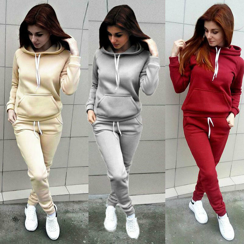 2Pcs Women Hoodies Sports Tops Pants Tracksuit Sweatshirt Sweat Suit Jogging Set Casual Sports Sweat Suit Running Tracksuit
