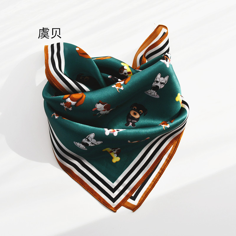 Dark Green Natural Silk Scarf With Cute Dog Printed 100% Real Silk Scarves Small 50cm Square Handkerchief Gift For Child Or Lady
