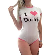 ABDL Bodysuit 기저귀 애호가 스냅 가랑이 장난 꾸러기 Sissy DDLG Onesie Pajamas - I Love Daddy Pattern(China)