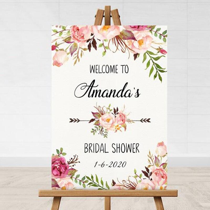 Sinal de Boas-vindas da Placa de Boas-vindas da Impressão do Sinal de Boas-vindas Floral de Madeira do Chá de Panela Boas-vindas de