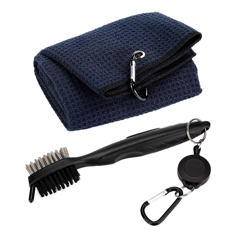 Pure Cotton Golf Towel Brush Tool Kit With Club Groove Cleaner Retractable Extension Cord And Clip