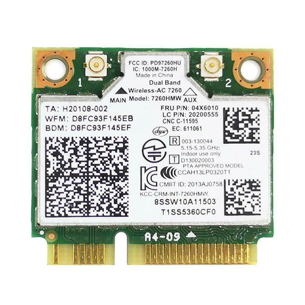 For Lenovo Thinkpad For Intel 7260 AC Dual Band WiFi + Bluetooth 4.0 WLAN Card 04 X 6010