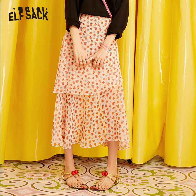 ELFSACK Pink Sweet Print Women Skirts 2019 Autumn New Mid Waist A-line Female Skirts Casual Fashion Office Lady Bottoms