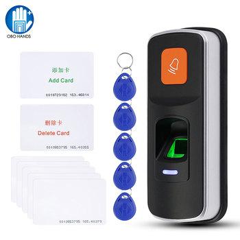 RFID kontrola dostępu za pomocą odcisków palców czytnik biometryczny System kontrola dostępu za pomocą odcisków palców kontroler dostępu mechanizm otwierania drzwi obsługa kart SD dzwonek do drzwi WG26 tanie i dobre opinie OBO HANDS i90+5+5 Standalone fingerprint access controller reader 125KHz 1000 Fingerprint EM card 155*66*28mm access control system