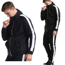 Nieuwe Mode Sportkleding Outdoor Fitness Warme Fluwelen Mannen Sport Patchwork Pak Rits Hooded Sweater Sweatshirt Gym Fitness Broek(China)