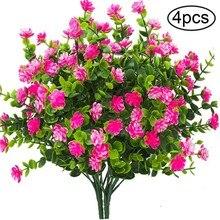 Ramos de flores artificiais de plástico 4 pçs/lote, planta falsa, haste, área interna, jardim, decoração para casamento