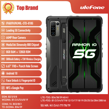 Ulefone Armor 10 5G SmartPhone Android 10 8GB +128GB Waterproof Rugged Mobile Phone 6.67 FullScreen 64MP Octa Core Cellphone